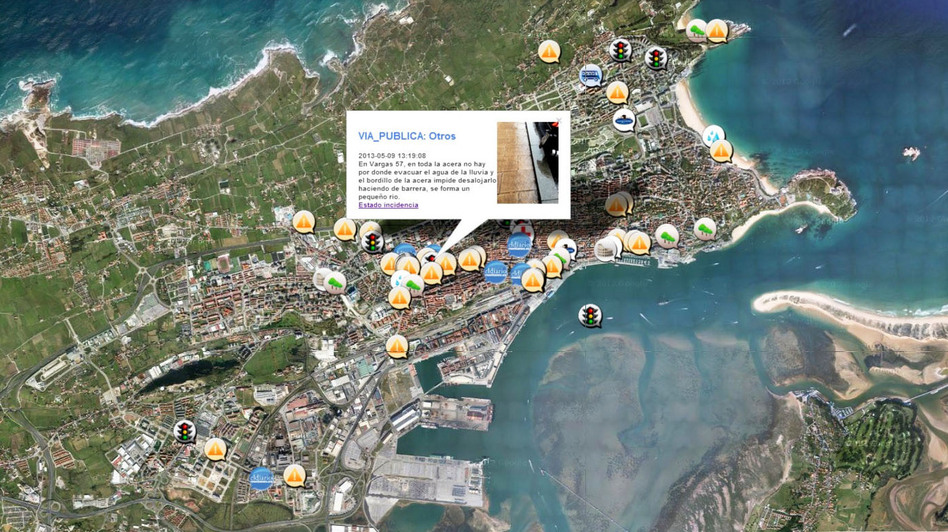 The Spanish city of Santander is using a network of sensors to help improve services and save money. Incidents reported to Santander's command-and-control center, where the city manages data from sensors and smartphone reports made by citizens, are plotted on a map of the city. (Courtesy of the University of Cantabria)