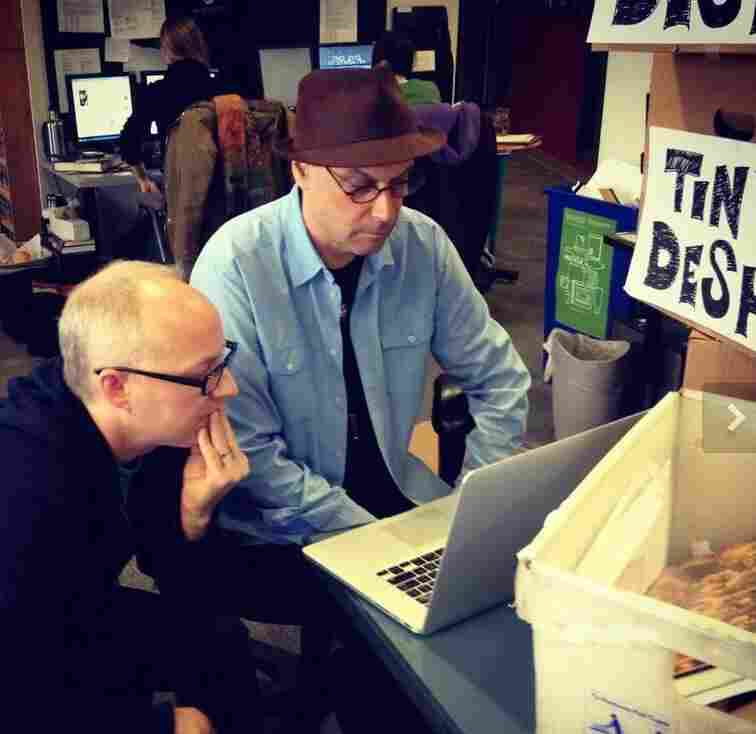 Javaun Moradi, NPR's product manager in NPR Digital Media tweeted: Bob and Robin of @allsongs rewriting @OKgo lyrics. Last day in the oldies space #nprlife