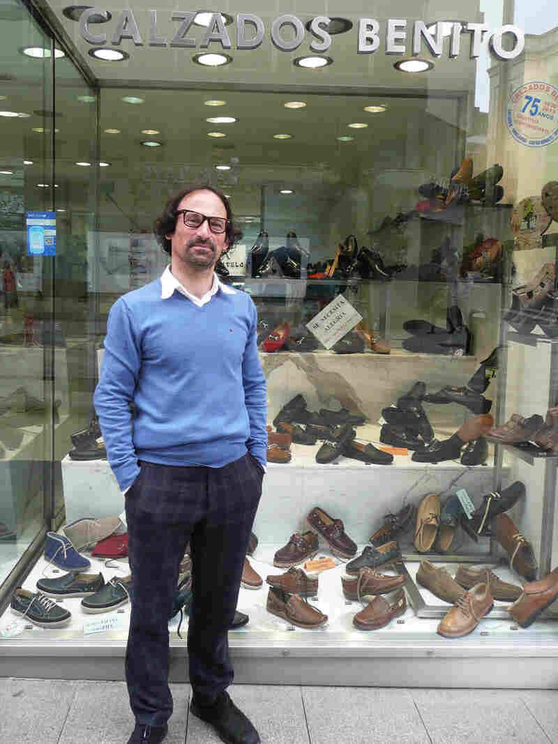 Angel Benito owns Benito's Shoes in Santander, a store that sells its wares online via the Smart Santander phone apps and campaign.