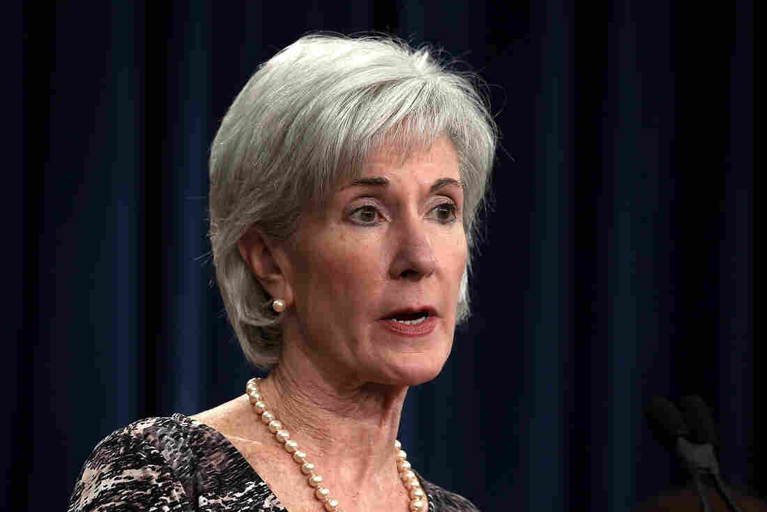 U.S. Secretary of Health and Human Services Kathleen Sebelius speaks during a news conference at the Department of the Treasury  on May 31 in Washington, DC.