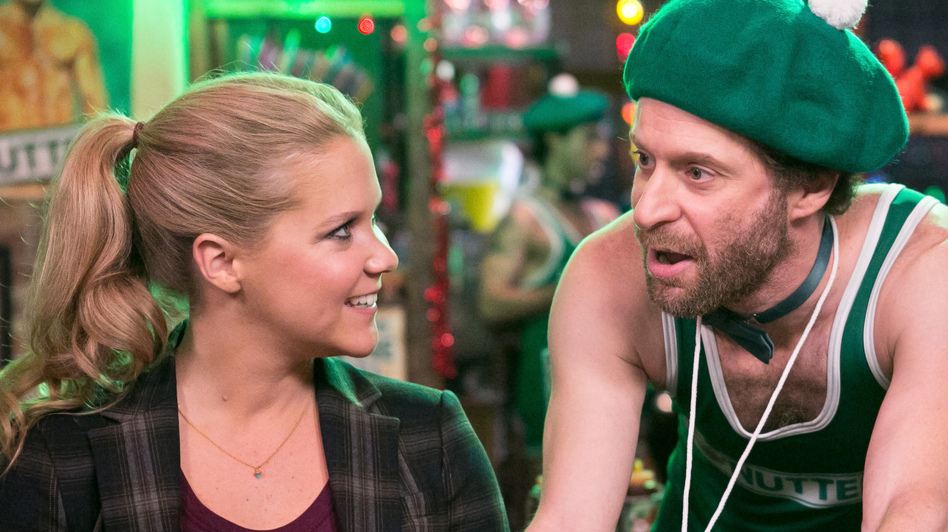 On Inside Amy Schumer,  the comic (here with Jon Glaser and Adrian Martinez) deploys everything from scripted vignettes to stand-up comedy and man-on-the-street-style interviews. (Comedy Central)