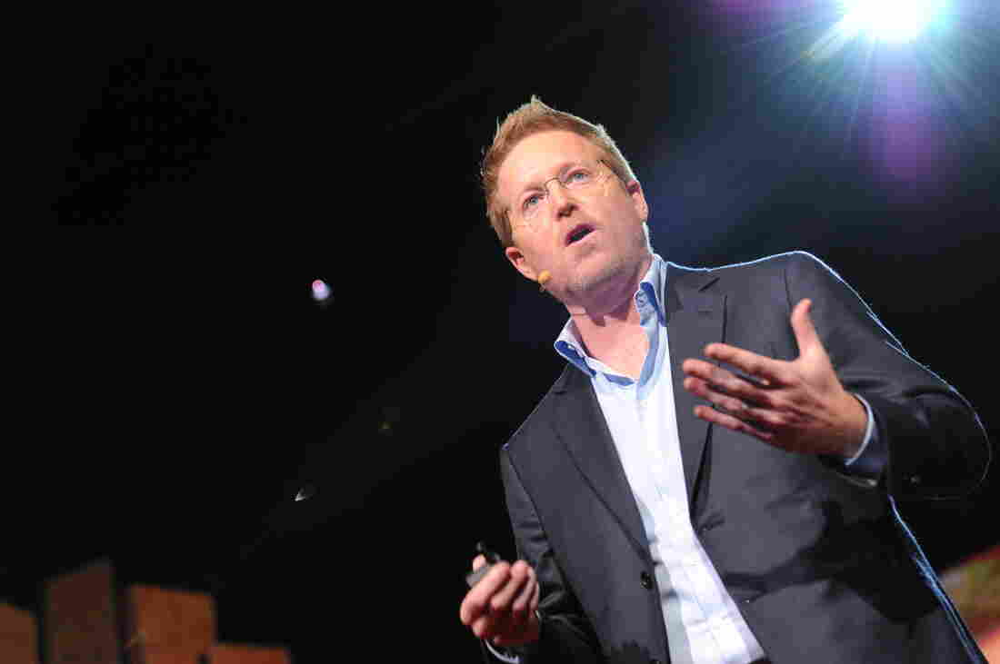 Filmmaker Andrew Stanton on the TED stage in 2012.