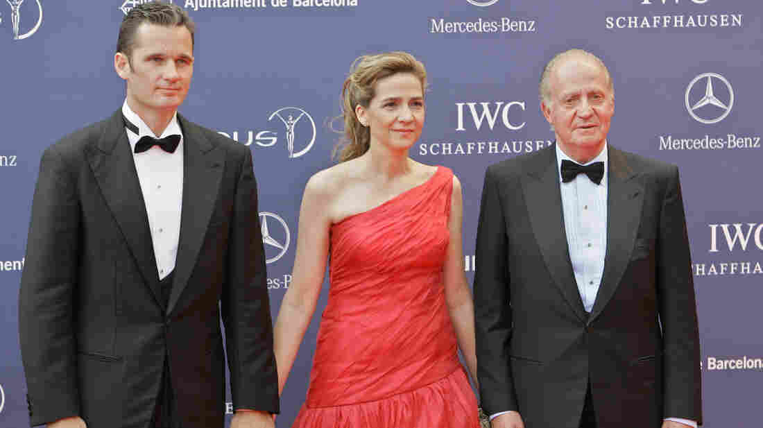 Spain's King Juan Carlos, his daughter Infanta Cristina and her husband, Inaki Urdangarin, are seen together on May 22, 2006. A corruption scandal involving Urdangarin, as well as the royal family's lifestyle is contributing to the public's diminishing respect for the monarchy.