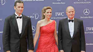 Spain's King Juan Carlos, his daughter Infanta Cristina and her husband, Inaki Urdangarin, are seen together on May 22, 2006. A corruption scandal involving U