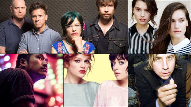 Clockwise from upper left: Superchunk, John Vanderslice, Lily & Madeleine, Alpine, Dirty Beaches (Courtesy of the artists)
