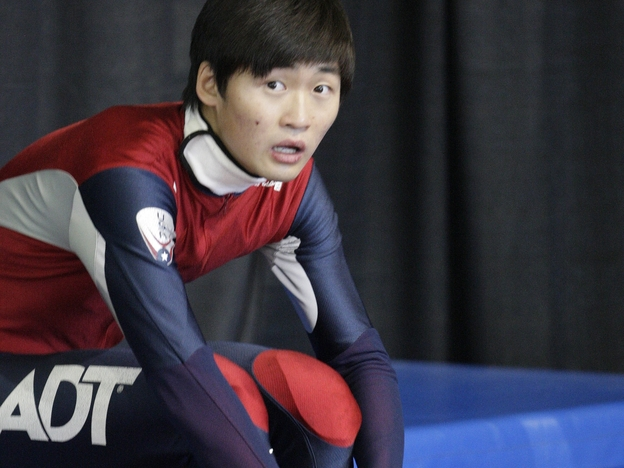 U.S. speedskater Simon Cho, seen here in 2012, will boycott a hearing in Germany over an incident in which he tampered with a Canadian athlete's skate. Cho says his coach ordered him to tamper with the equipment. (AP)