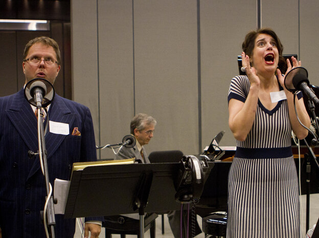 Tenor Douglas Bowles (left), pianist Alex Hassan and soprano Karin Paludan perform music from The Greatest Songs You've Never Heard in NPR's Studio 1.