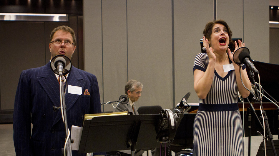 Tenor Douglas Bowles (left), pianist Alex Hassan and soprano Karin Paludan perform music from <em>The Greatest Songs You've Never Heard</em> in NPR's Studio 1.