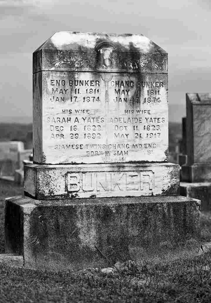 The double headstone over the final resting place of Eng and Chang Bunker (and wife Adelaide) in the cemetery behind the old Baptist church, Old Hwy 601, Mount Airy, NC 27030.