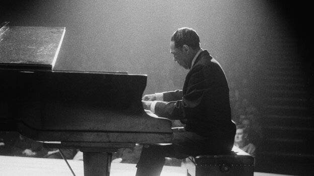 Duke Ellington (1899-1974) at the piano at the Fairfield Hall, Croydon, during a British tour on Feb. 10, 1963.