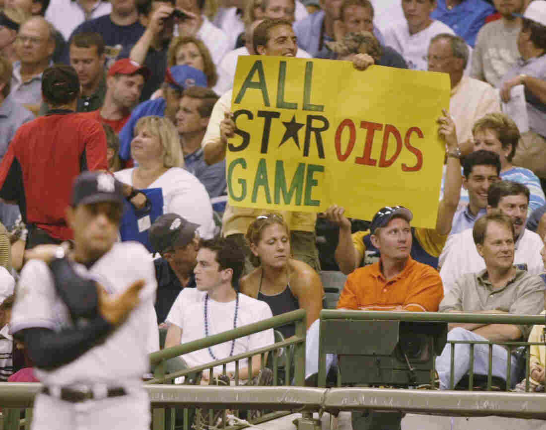 A fan raises his objections at the 2002 Major League Baseball All Star Game.