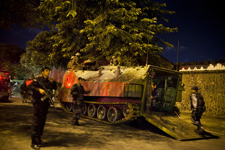 Elite police units moved into 13 communities in the Caju favela complex on March 3. (Lianne Milton for NPR)
