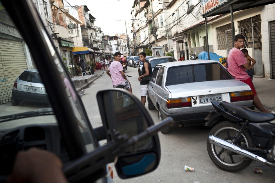 Police officers on patrol in Rio. (Lianne Milton for NPR)