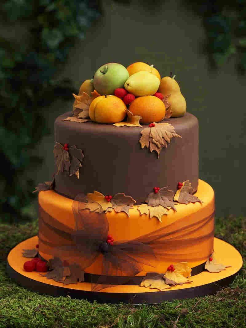 """The """"Rustic Cake with Marzipan Fruits"""" as pictured in Wedding Cake Art and Design."""