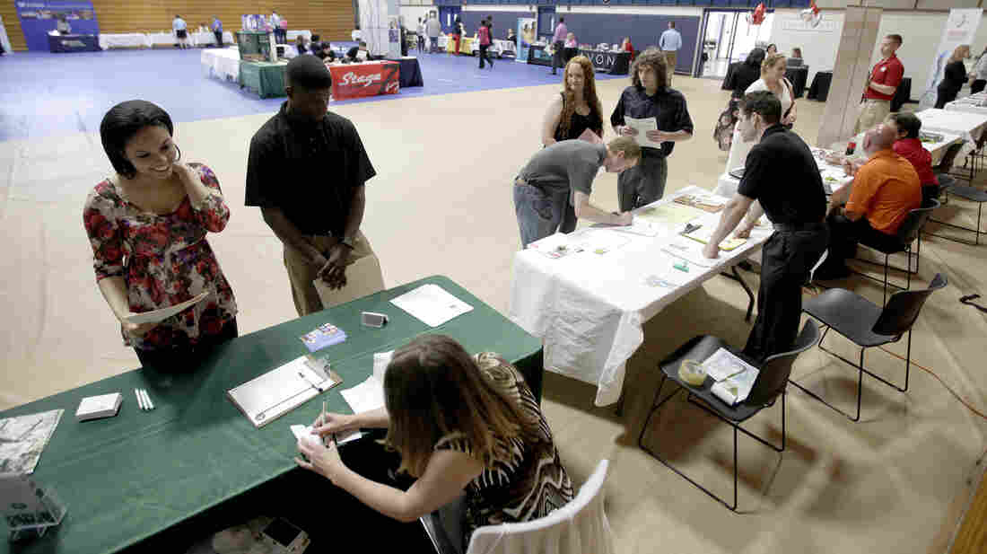 The scene at a jobs fair in Gainesville, Fla., on April 27.