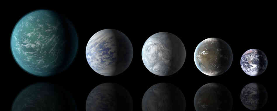 This illustration shows the relative sizes of the habitable-zone planets Kepler-22b, Kepler-69c, Kepler-62e, Kepler-62f and the Earth.