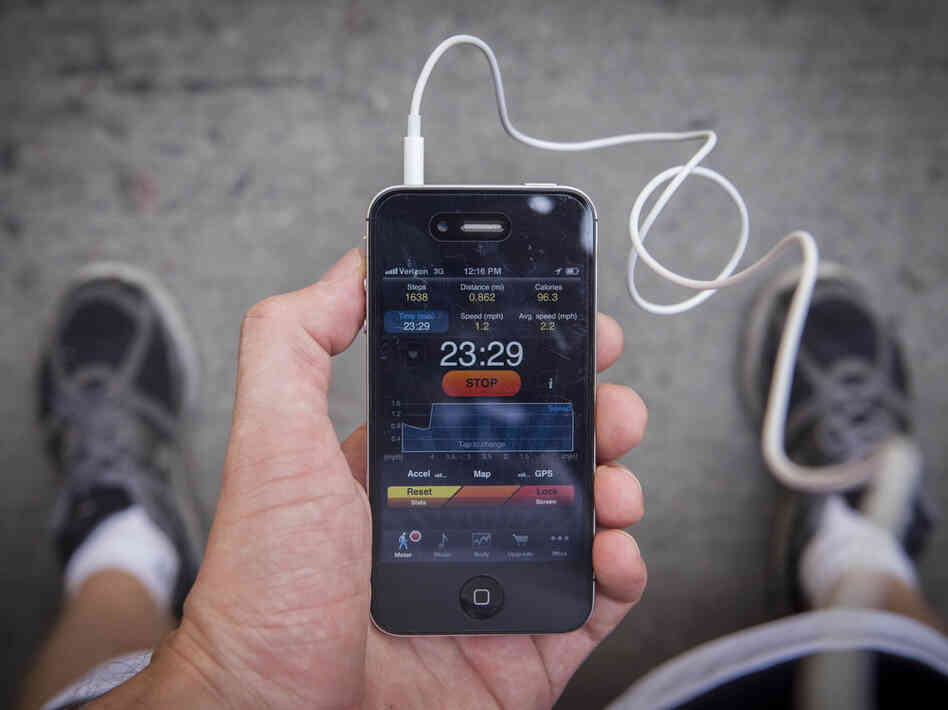 Pedometer, an app, keeps track of your steps, distance traveled and calories burned.