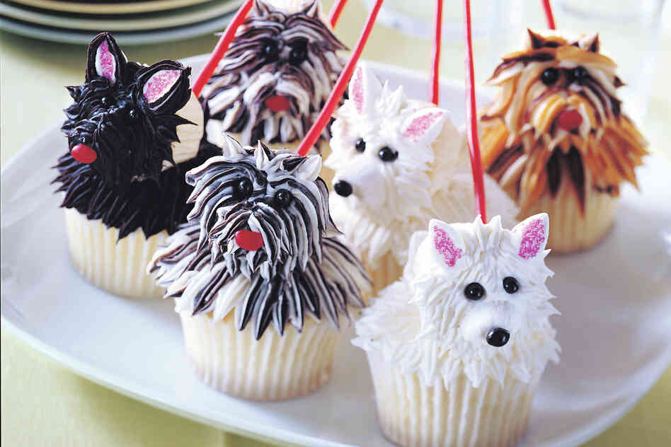 Cupcakes shaped like Westies as pictured in Hello, Cupcake!.