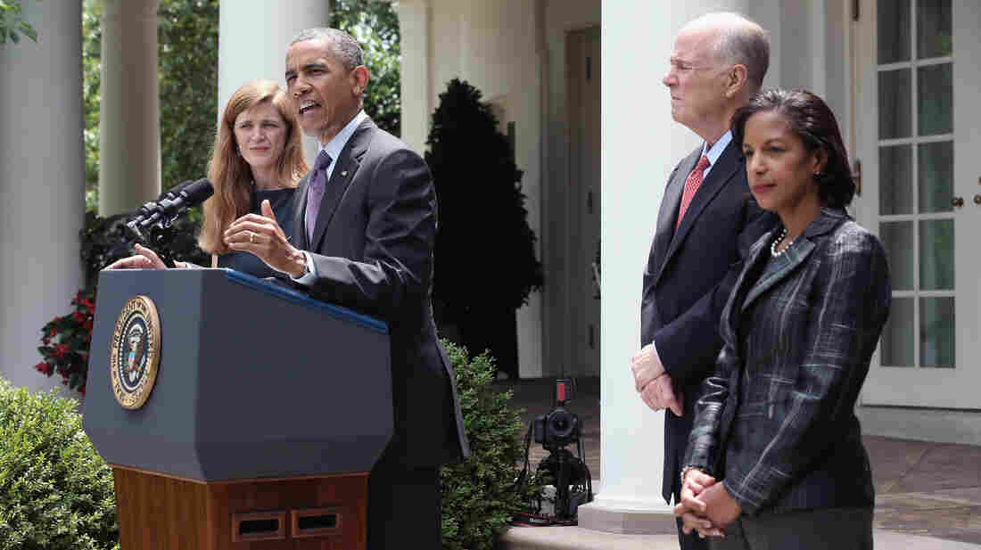 President Barack Obama announces a staff shakeup Wednesday, naming U.N. Ambassador Susan Rice (right) to replace the retiring Tom Donilon. He also nominated former White House aide Samantha Power (left) to succeed Rice at the U.N.