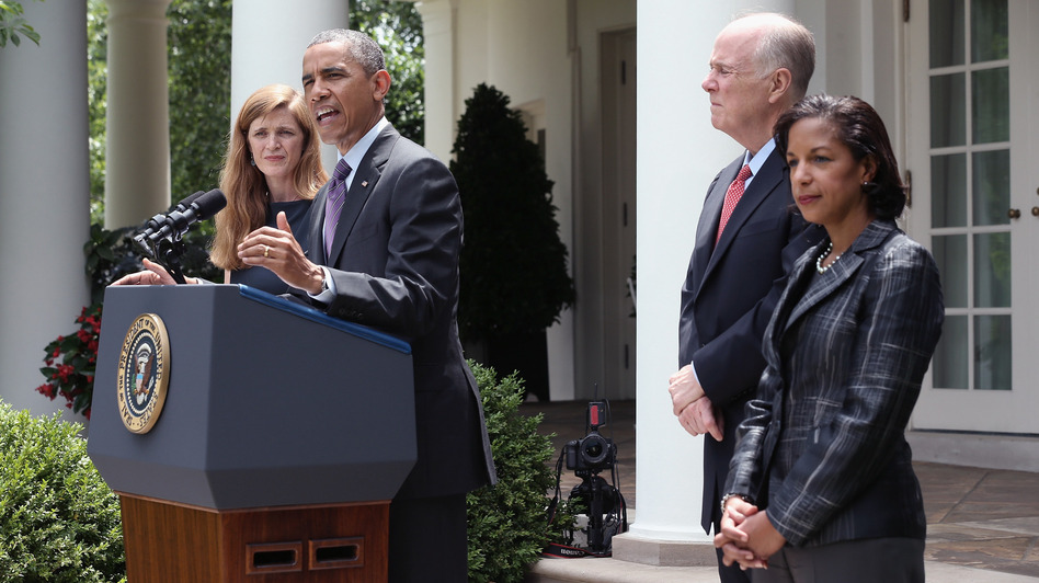 President Barack Obama announces a staff shakeup Wednesday, naming U.N. Ambassador Susan Rice (right) to replace the retiring Tom Donilon. He also nominated former White House aide Samantha Power (left) to succeed Rice at the U.N. (Alex Wong/Getty Images)