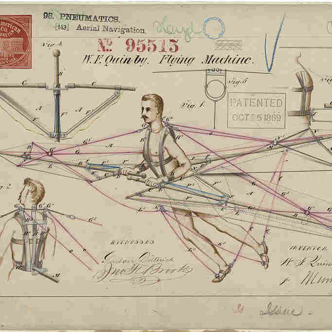 Flying machine patent drawing by W.F. Quinby, 1869.