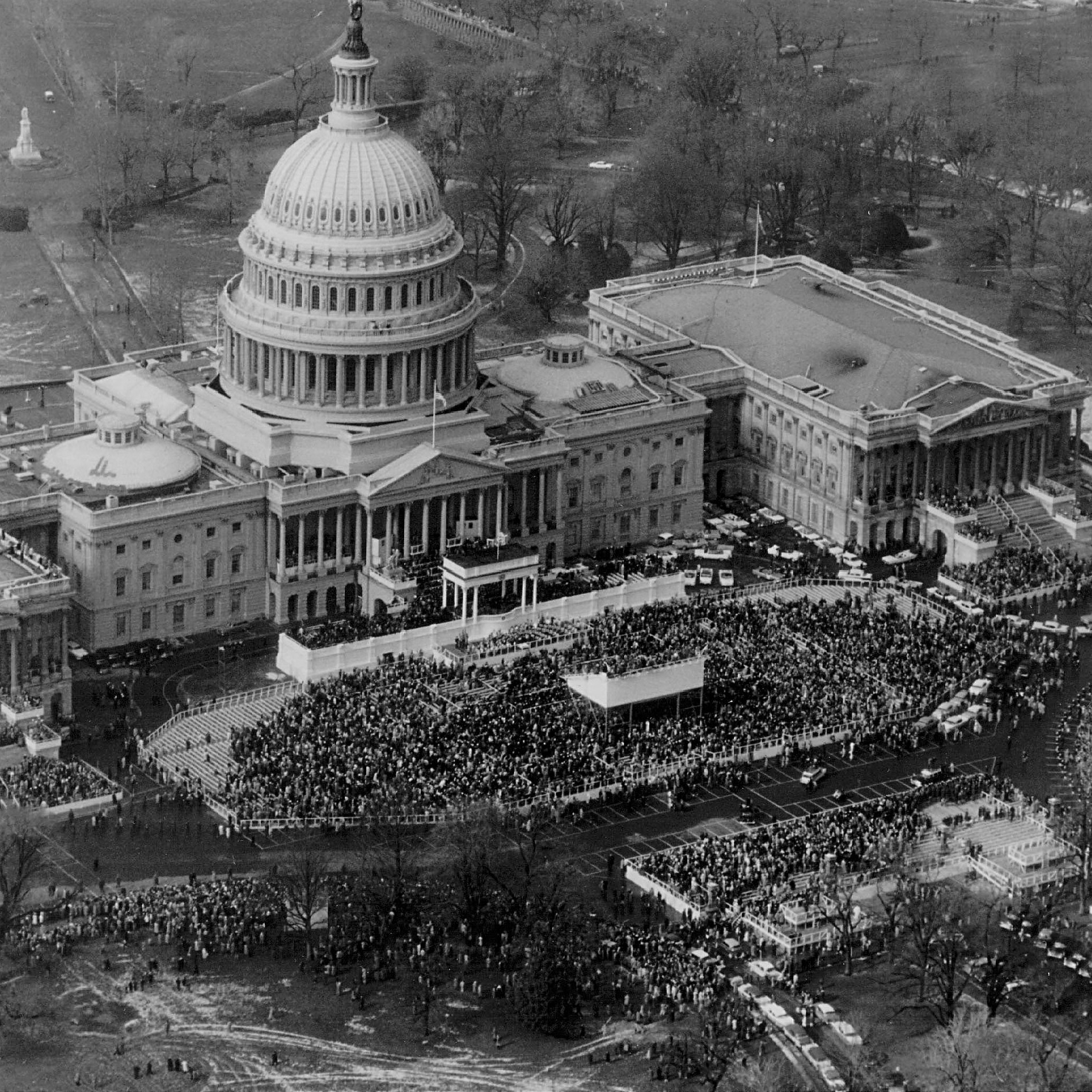 A crowd gathers outside the U.S. Capitol for Dwight D. Eisenhower's second presidential inauguration, in 1957. Ten other men have held the office during Dingell's time in Congress.