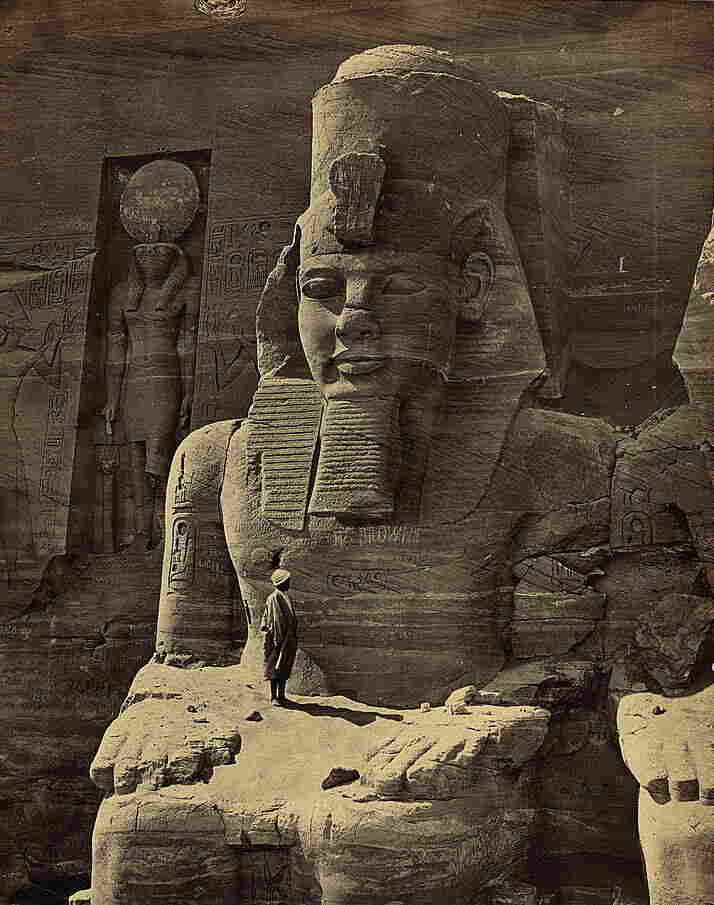 A figure carved into the rock at the Great Temple at Abu Simbel, Egypt, circa 1856-1860.