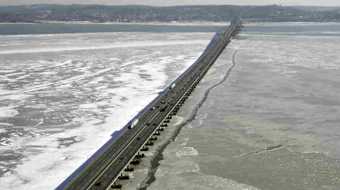 The Tappan Zee Bridge, which connects New York's Westchester and Rockland counties, is seen across an icy Hudson River in 2005, a half-century after it opened.