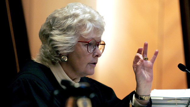 Chief Justice Margaret Marshall asks petitioner to explain a point during arguments before the Supreme Judicial Court in Boston in 2005. (AP)