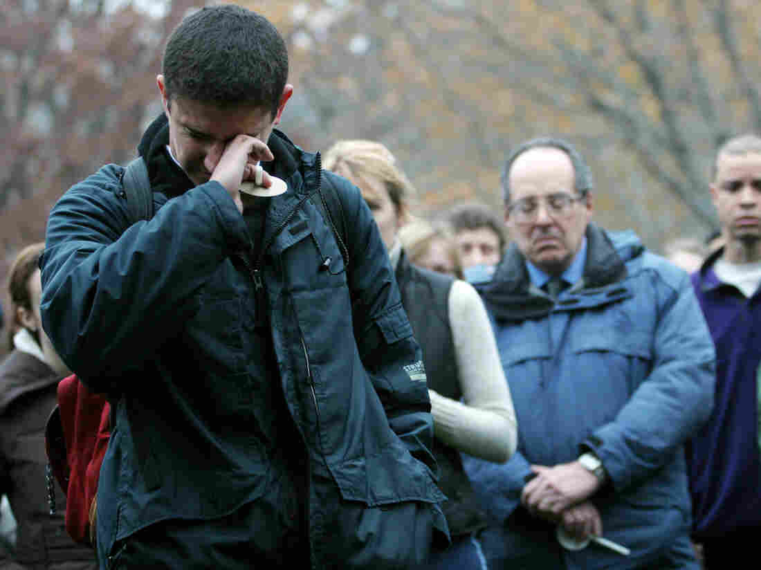 Student Kahlil Quato fights tears as he speaks at a University of Chicago candlelight vigil in 2007. The service was held in remembrance of Amadou Cisse, a graduate student, who was shot to death at point-blank range.