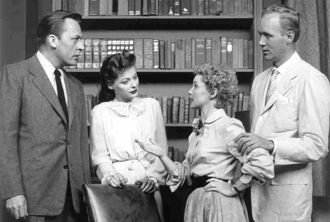 In this image released by CBS, actors (from left) Herbert Nelson, Ellen Demming, Susan Douglas and Lyle Sudrow appear in the premiere TV broadcast of Guiding Light on June 30, 1952.