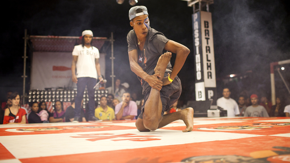 Wellington Costa, 19, performs at the semifinals of a passinho competition in Rio de Janeiro on April 23. Passinho is a liberated dance form born in Rio's favelas, or shanty towns. (Lianne Milton for NPR)
