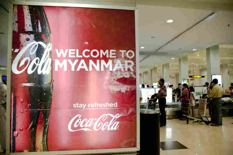 A Coca-Cola advertisement in the baggage claim area at the Yangon Airport in Myanmar.
