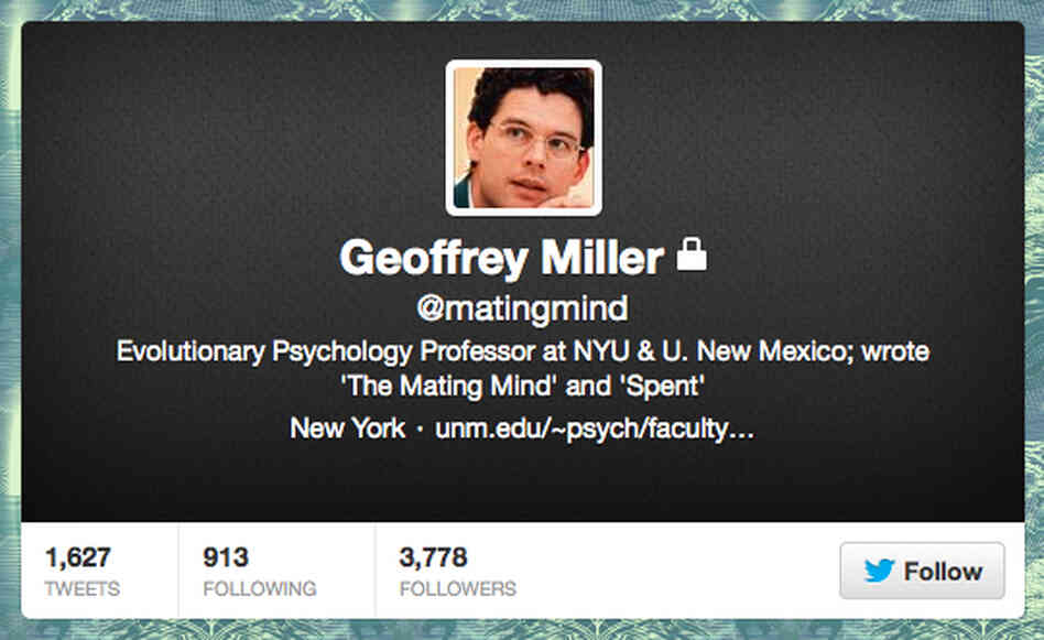 "Geoffrey Miller's account was public before his ""obese PhD applicants"" tweet. Now it's protected."
