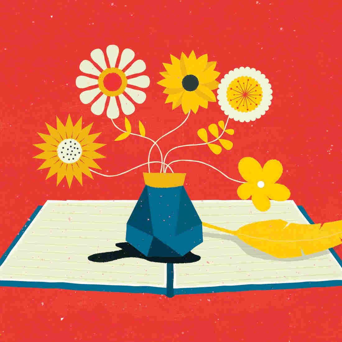 Illustration: A vase of flowers on top of a book.