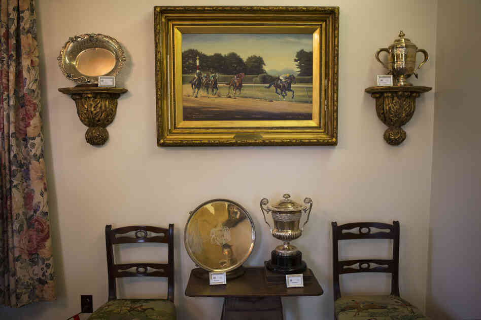 The office at Woodstock Farm features trophies and art dedicated to Kelso, a popular and top-earning racehorse in the '60s. The farm was once owned by Allaire du Pont, a member of the prominent chemical manufacturing family, and was home to the thoroughbred champion.