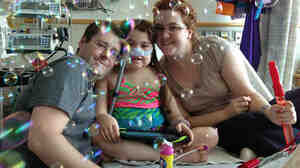 Sarah Murnaghan, on May 30, as she and her parents marked the 100th day of her stay in Children's Hospital of Philadelphia.