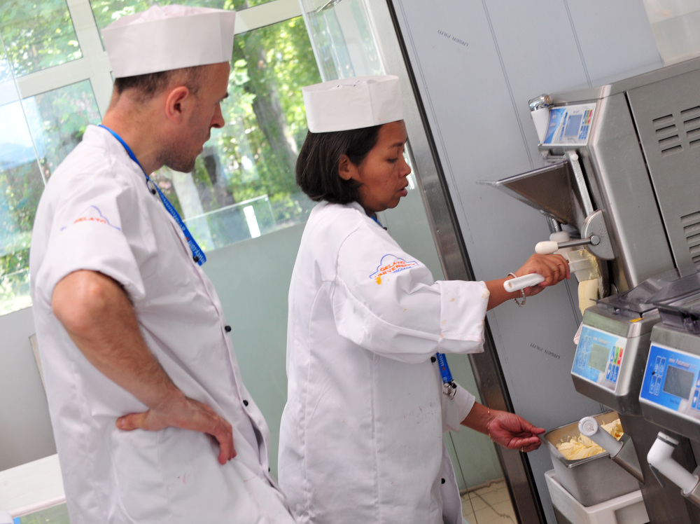 Students prepare gelato during a course at the Gelato University of Carpigiani in Bologna, Italy, in 2011.