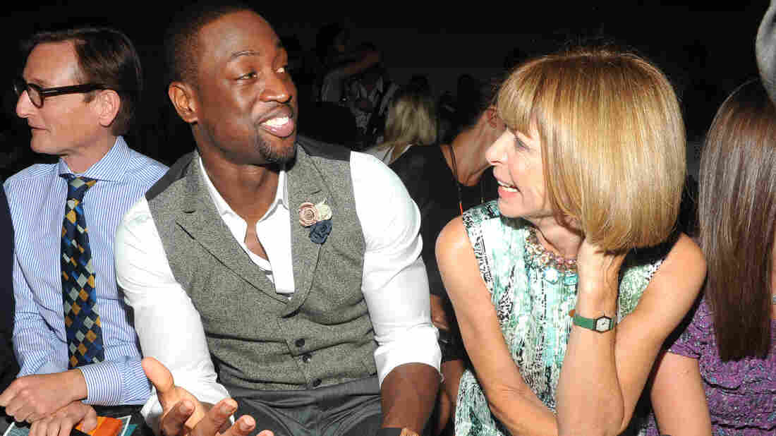 Miami Heat basketball player Dwayne Wade sat in the front row along Vogue editor Anna Wintour at the Rag and Bone Spring  2012 collection show during New York Fashion Week.