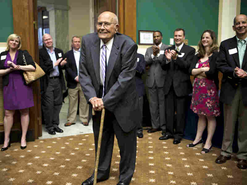 Rep. John Dingell, D-Mich., is celebrated by friends and colleagues on Capitol Hill on Friday, as he becomes the longest-serving member of Congress in history.