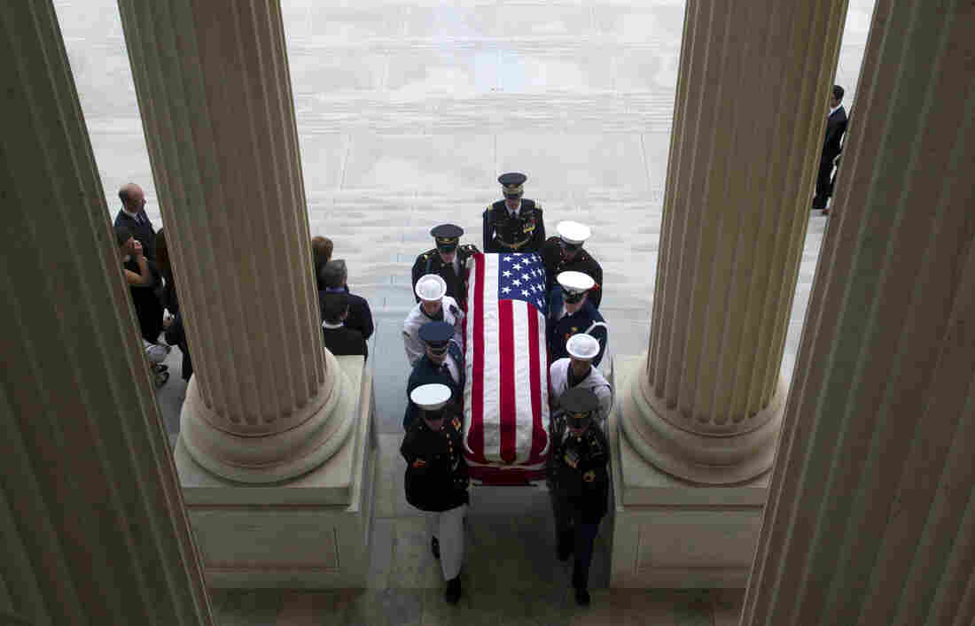 Military pallbearers carry the coffin of the late New Jersey Sen. Frank Lautenberg into the Senate chamber on Thursday. He was the only remaining World War II veteran in the Senate.