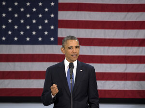 President Obama speaks at Mooresville Middle School in Mooresville, N.C., on Thursday.