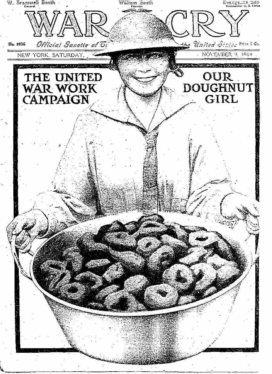 "The cover of the Salvation Army's War Cry magazine from 1918 commemorates the ""Doughnut Girl."""