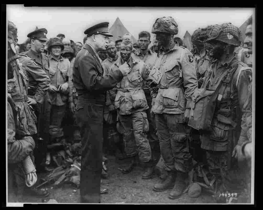 Gen. Dwight D. Eisenhower addresses American paratroopers in England on the evening of June 5, 1944, as they prepare for the Battle of Normandy.