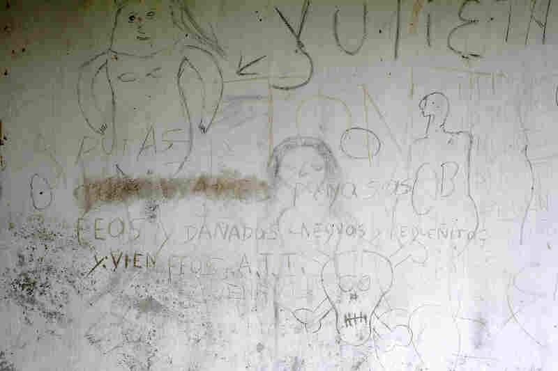 Sexually explicit drawings and graffiti remain on the