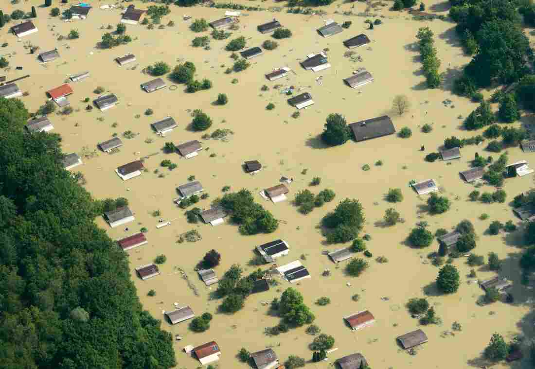 An aerial view of the flooded Danube River in Deggendorf, Germany, on Friday.
