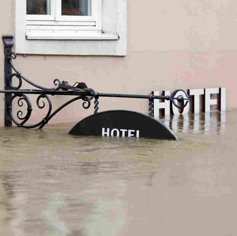 A hotel entrance was flooded earlier this month in Passau, Germany.