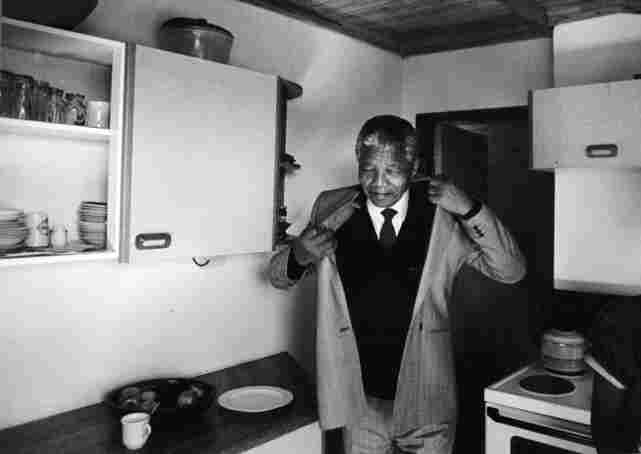 Nelson Mandela in his South Africa home for the first time after 27 years in prison.