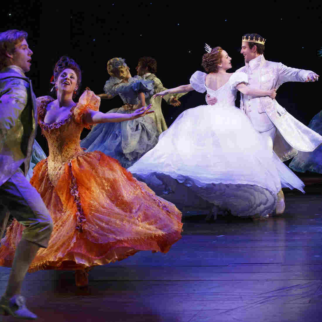 Laura Osnes, Santino Fontana and the ensemble of Cinderella — one of the Broadway season's more lavish musicals, whose costume designer, William Ivey Long, is nominated for his sixth Tony Award.
