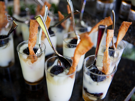 Low-fat yogurt parfaits with berries are currently sold in kiosks along the National Mall in D.C. The version served at the tasting event came topped with cinnamon wonton crisps.